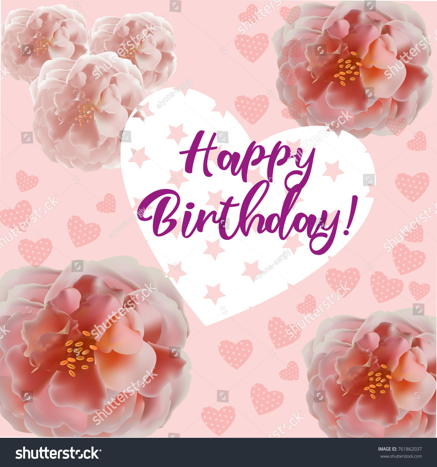 Happy Birthday Flowers Blossom Greeting Card Stock Vector Royalty