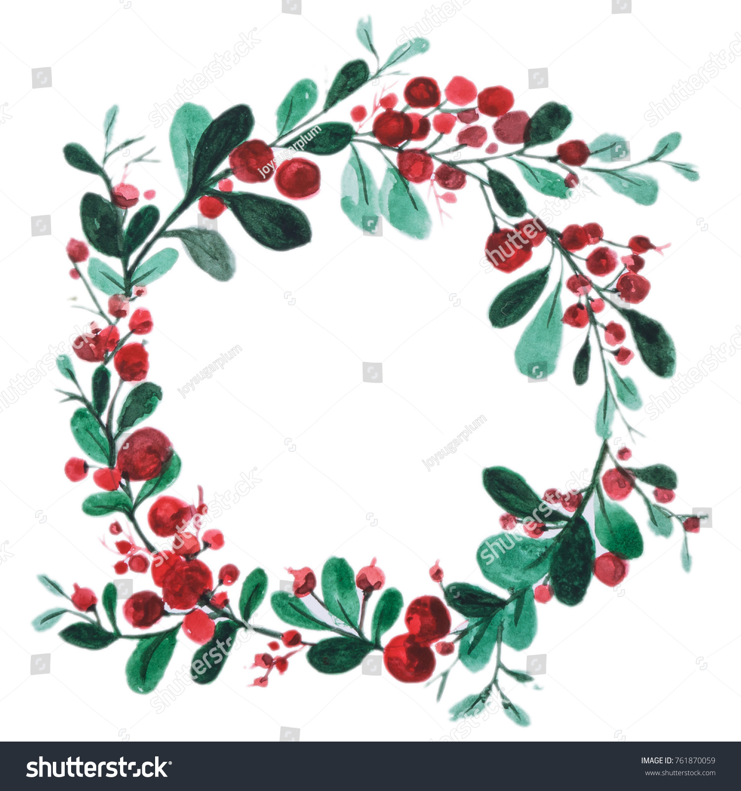Merry christmas happy new year party stock illustration 761870059 merry christmas and happy new year party invitation card cherry branches watercolor hand paiting stopboris Choice Image