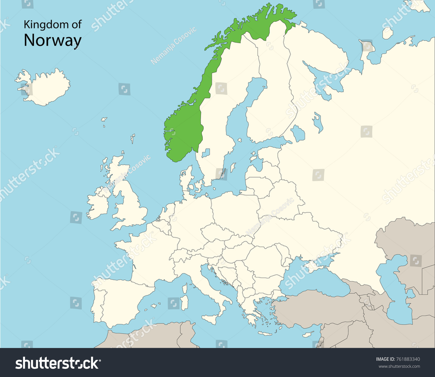 Norway On Europe Map.Europe Map Norway Stock Vector Royalty Free 761883340 Shutterstock