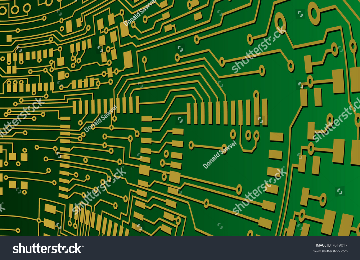Green Gold Circuit Board Background Stock Vector Royalty Free Pcb Printed 13 Photos Image And