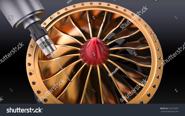 Measurement Probe Attach On CN Cs Machine Stock Illustration ...