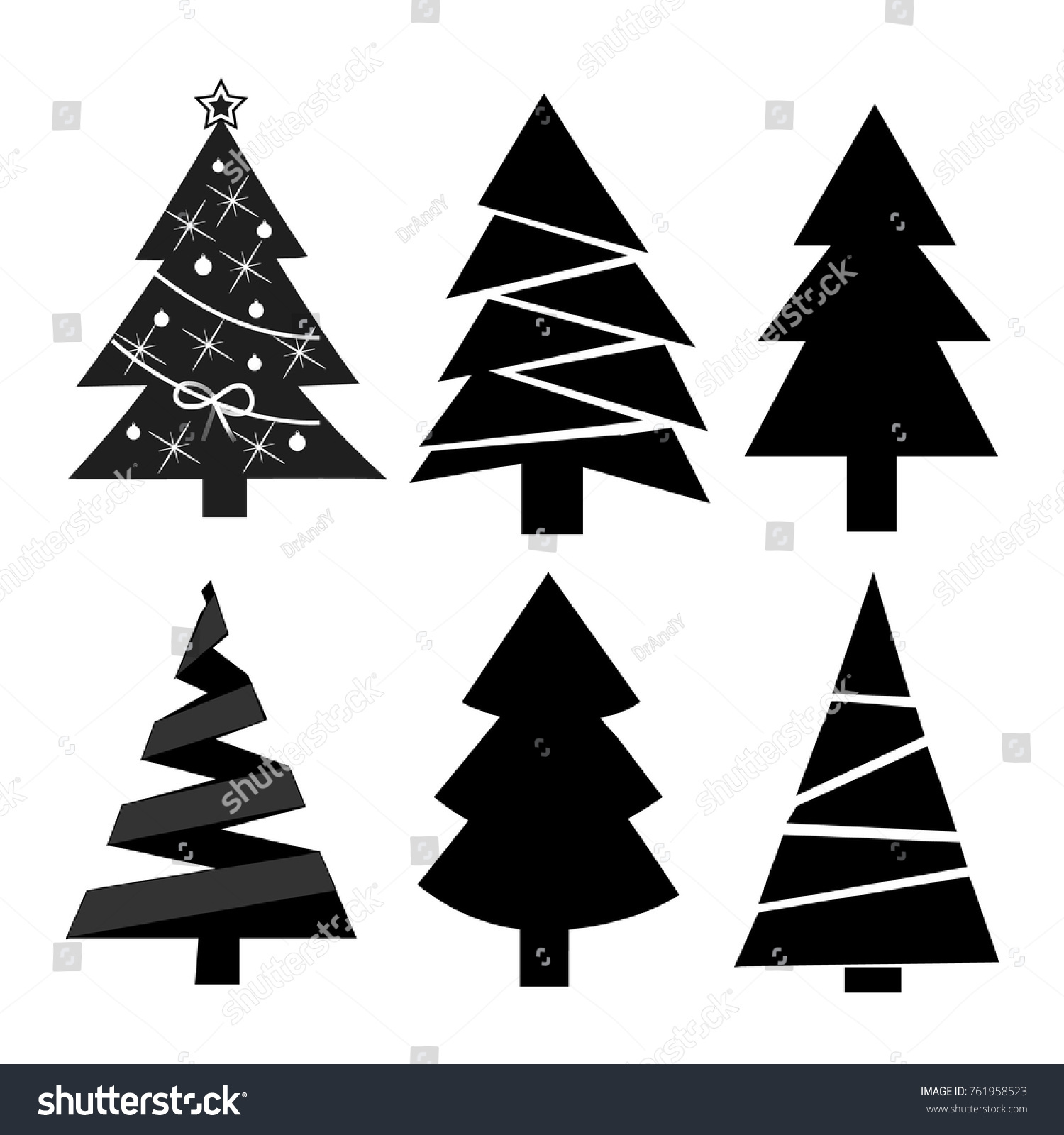 Set Six Christmas Trees Modern Flat Stock Vector Royalty Free