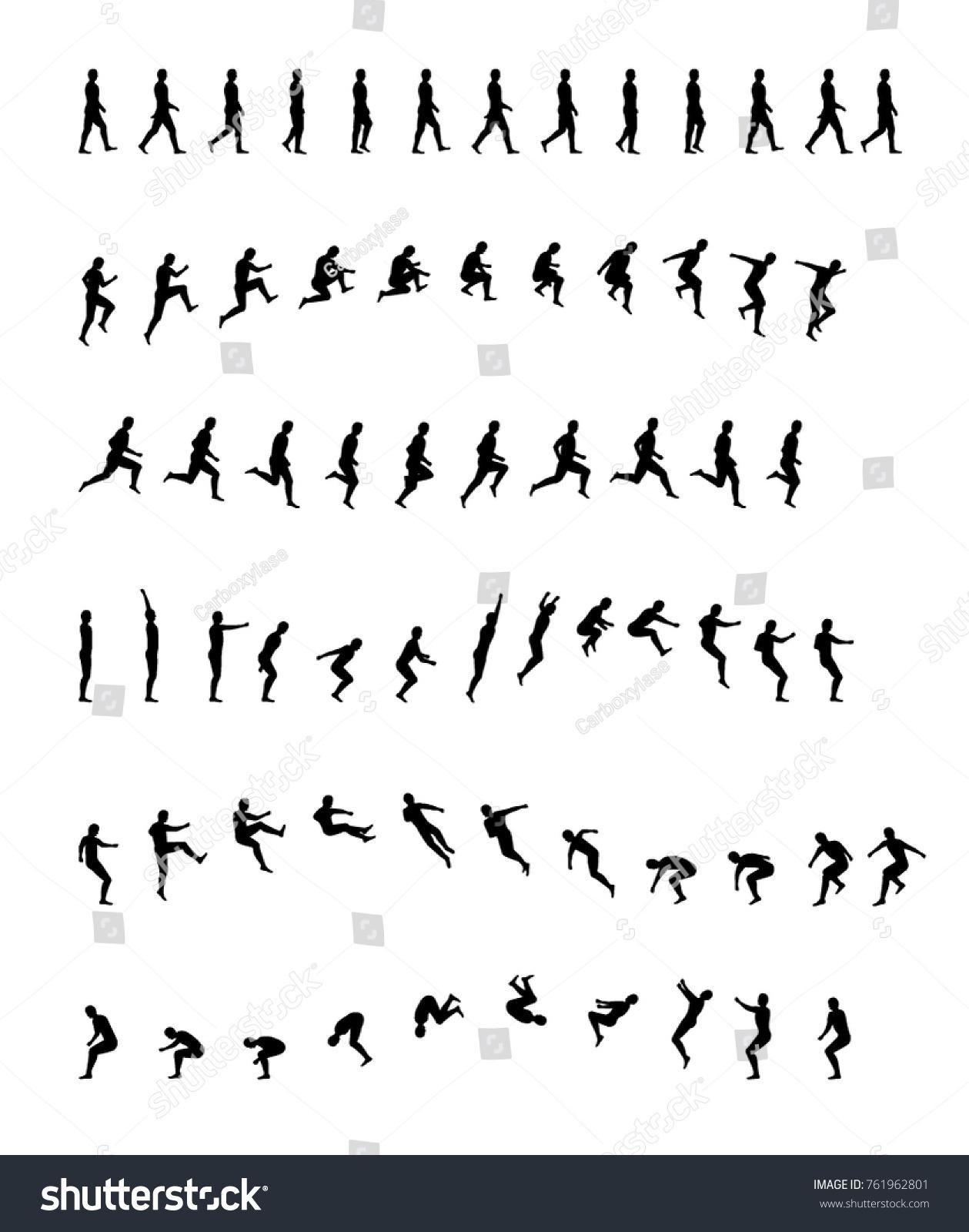 Walking Running Backflip Jogging Jumping Acrobatics Stock Vector ...