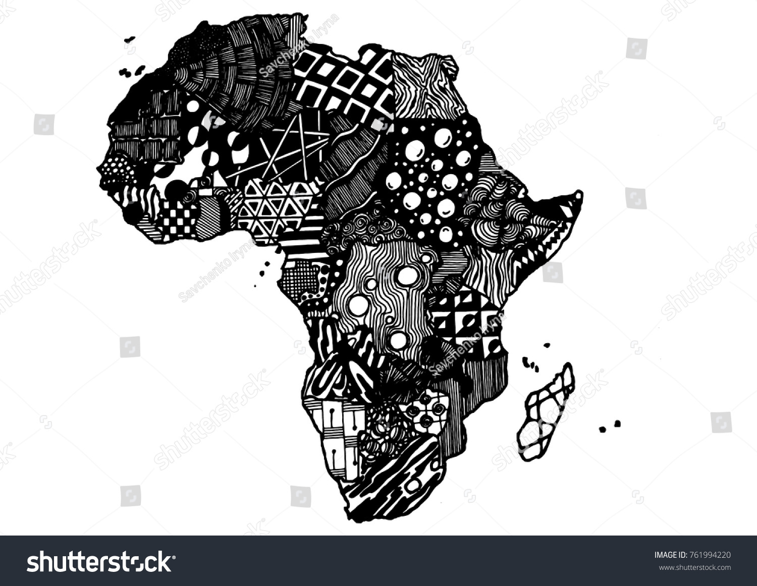 Africa Continent Map Sketch Hand Drawn Doodle Style Freehand Abstract Element With