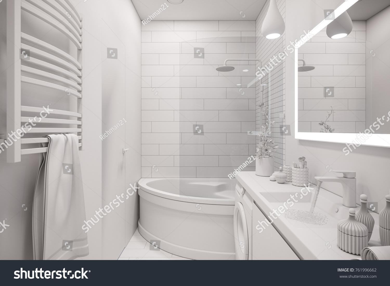 3 D Illustration Interior Design White Minimalist Stock Illustration ...