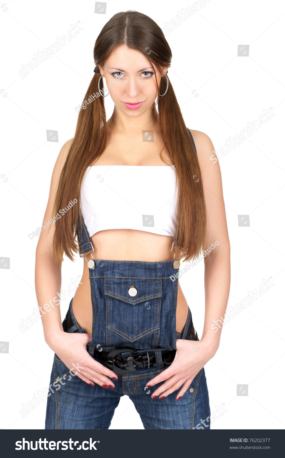 Beautiful Sexy Woman Jeans Overall Isolated Stock Photo 76202377 ...
