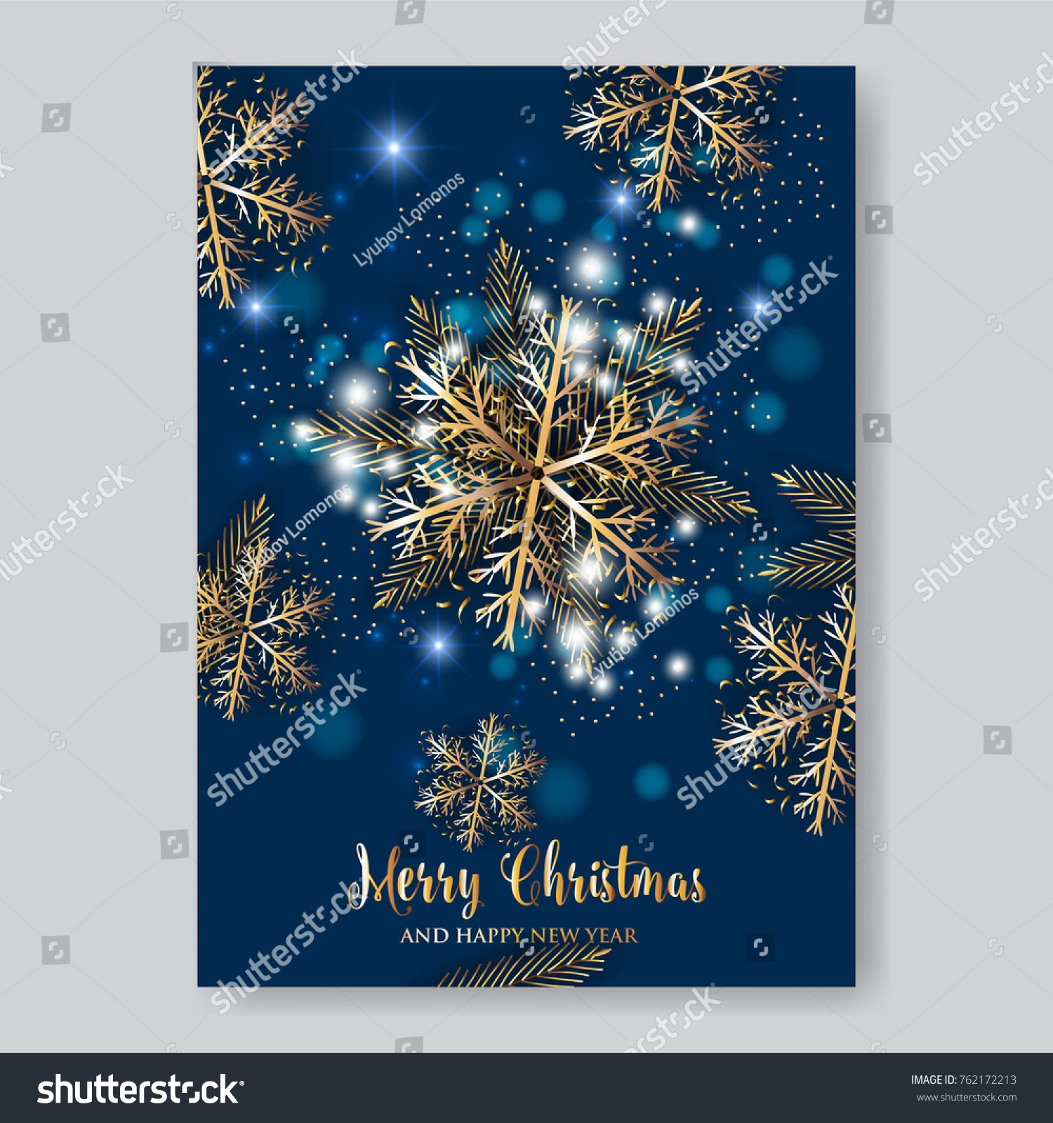 Gold Snowflake Christmas Party Invitation Template Stock Vector - Snowflake party invitation template