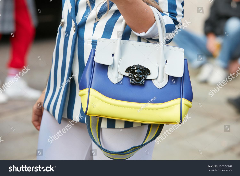 c0a65aaea73 MILAN SEPTEMBER 22 Woman White Blue Stock Photo (Edit Now) 762177928 ...