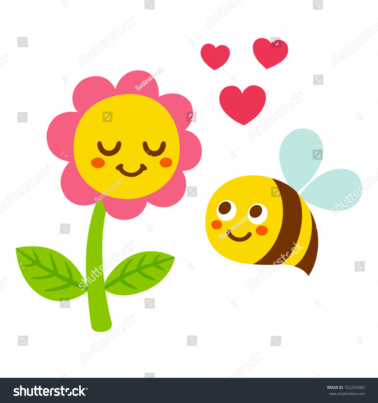 Cute Cartoon Bee And Flower In Love With Smiling Faces Hearts Adorable Valentines