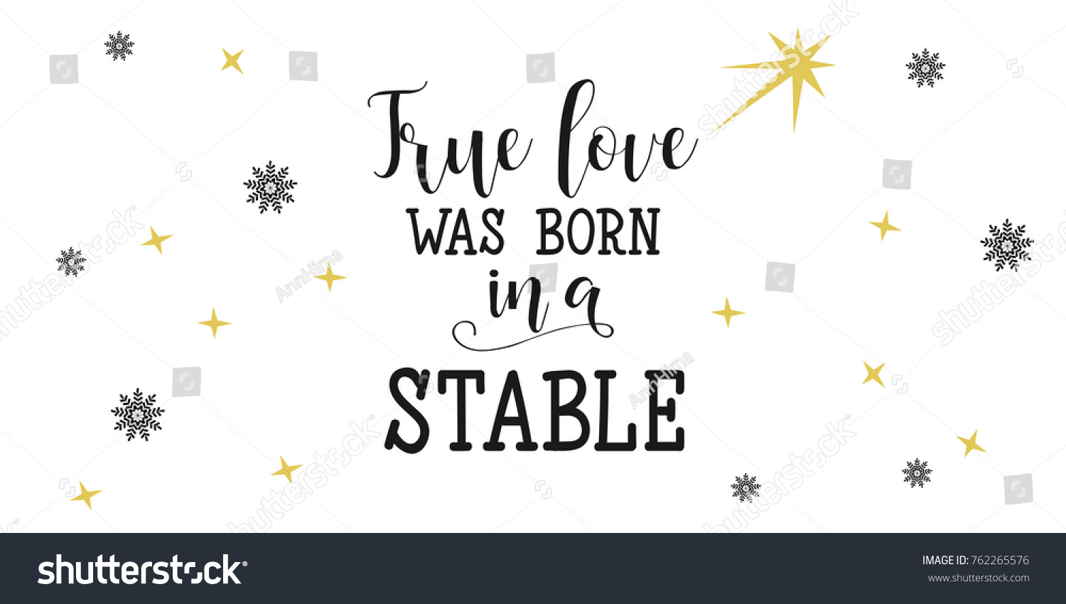 True Love Born Stable Christmas Lettering Stock Vector Royalty Free 762265576