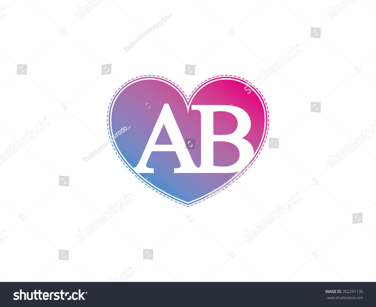 Initial Letter Ab Heart Symbol Logo Stock Vector Royalty Free