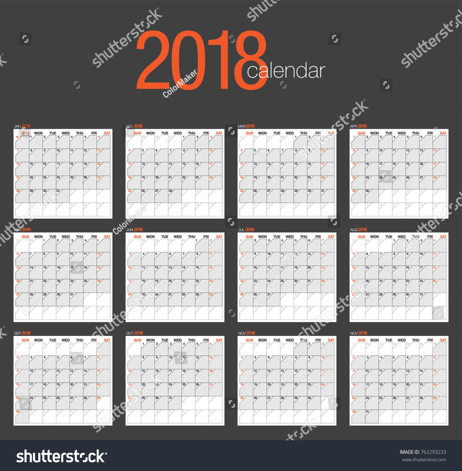Weekly Calendar Vector : Vector calendar template simple elegant stock
