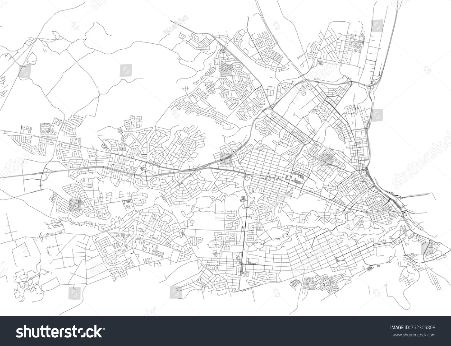 Streets Port Elizabeth City Map South Stock Vector 762309808