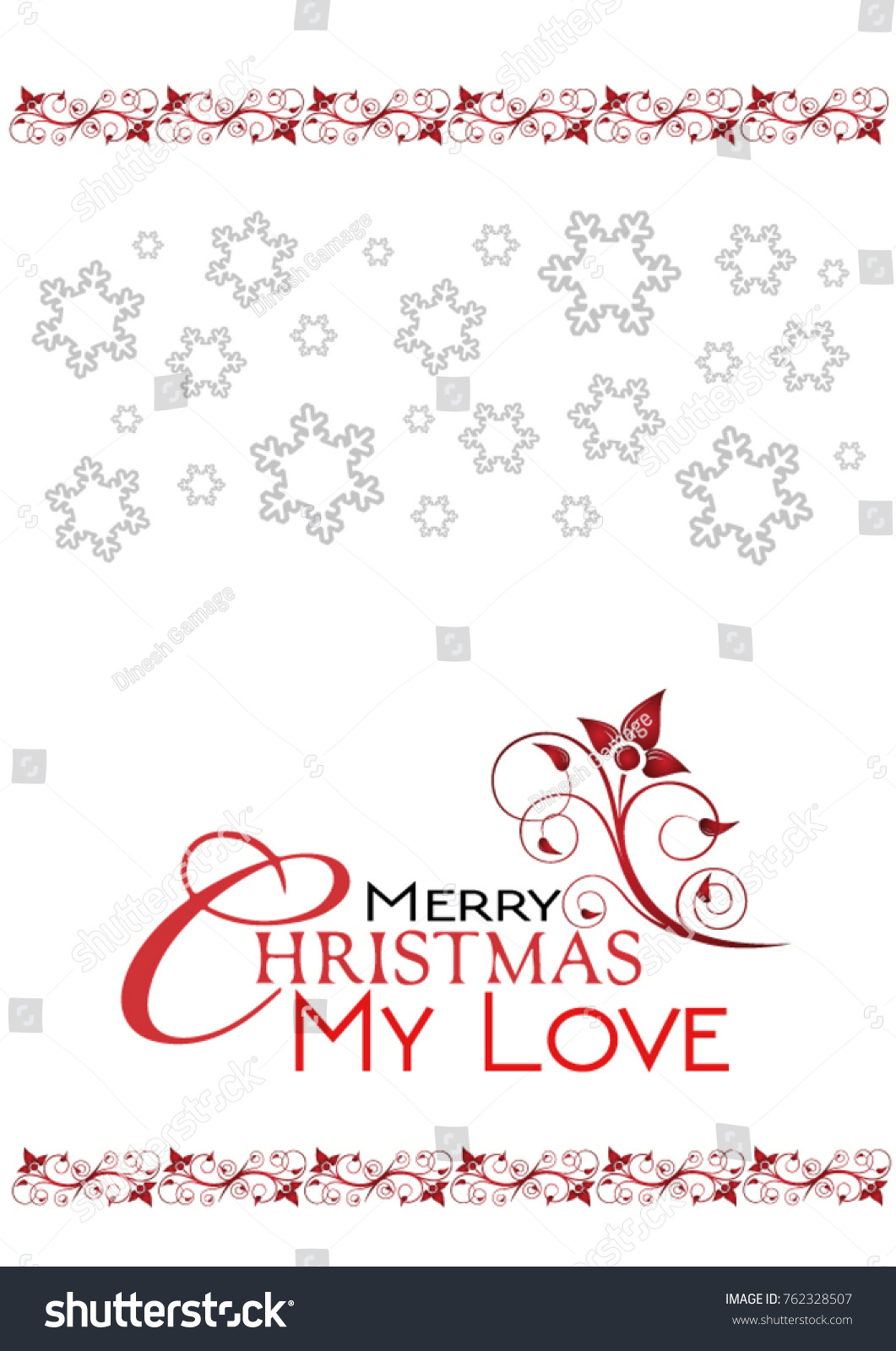 Merry Christmas My Love Greetings Card Stock Vector Royalty Free