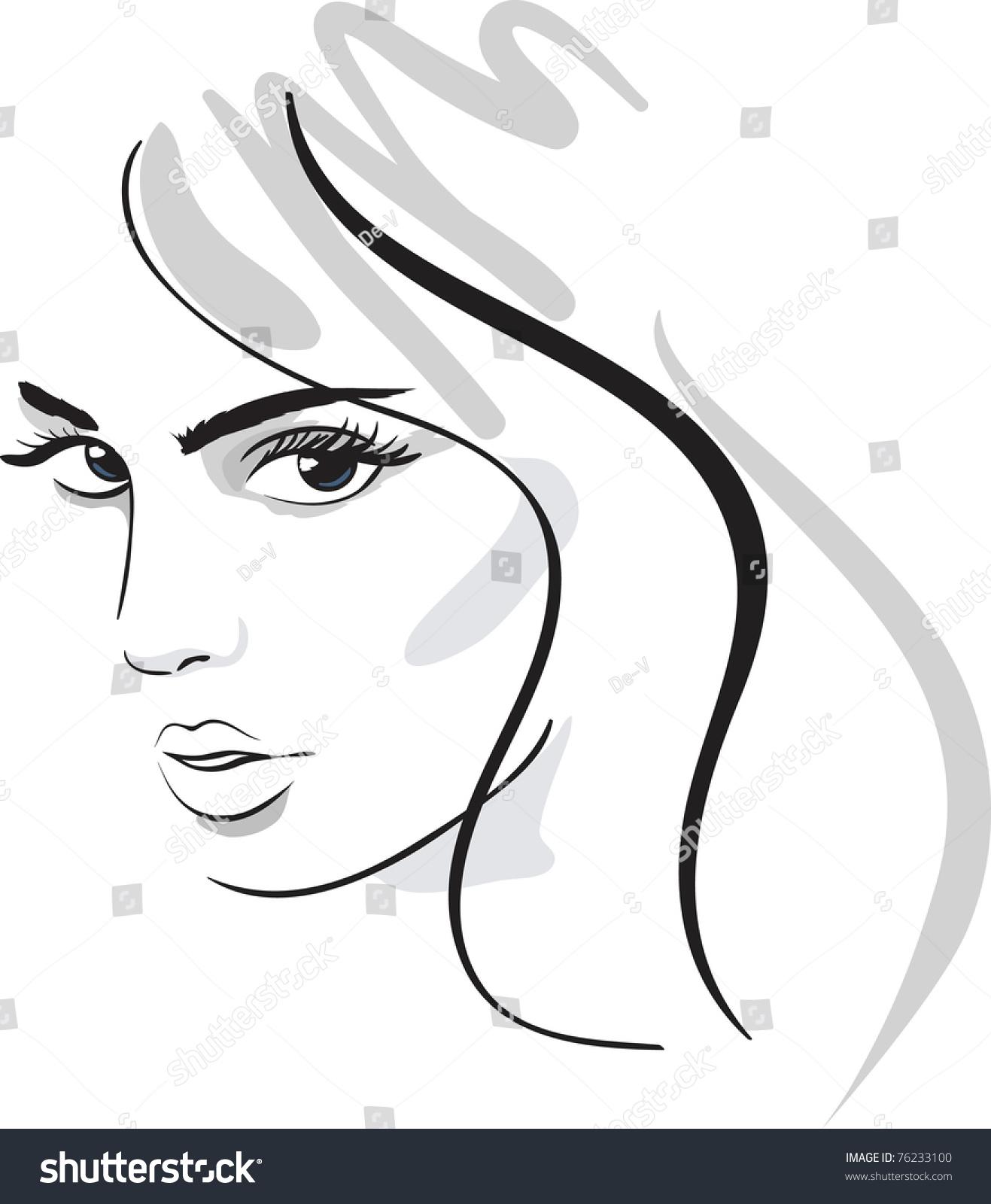 Beauty Girl Face. Design Elements. Vector Illustration