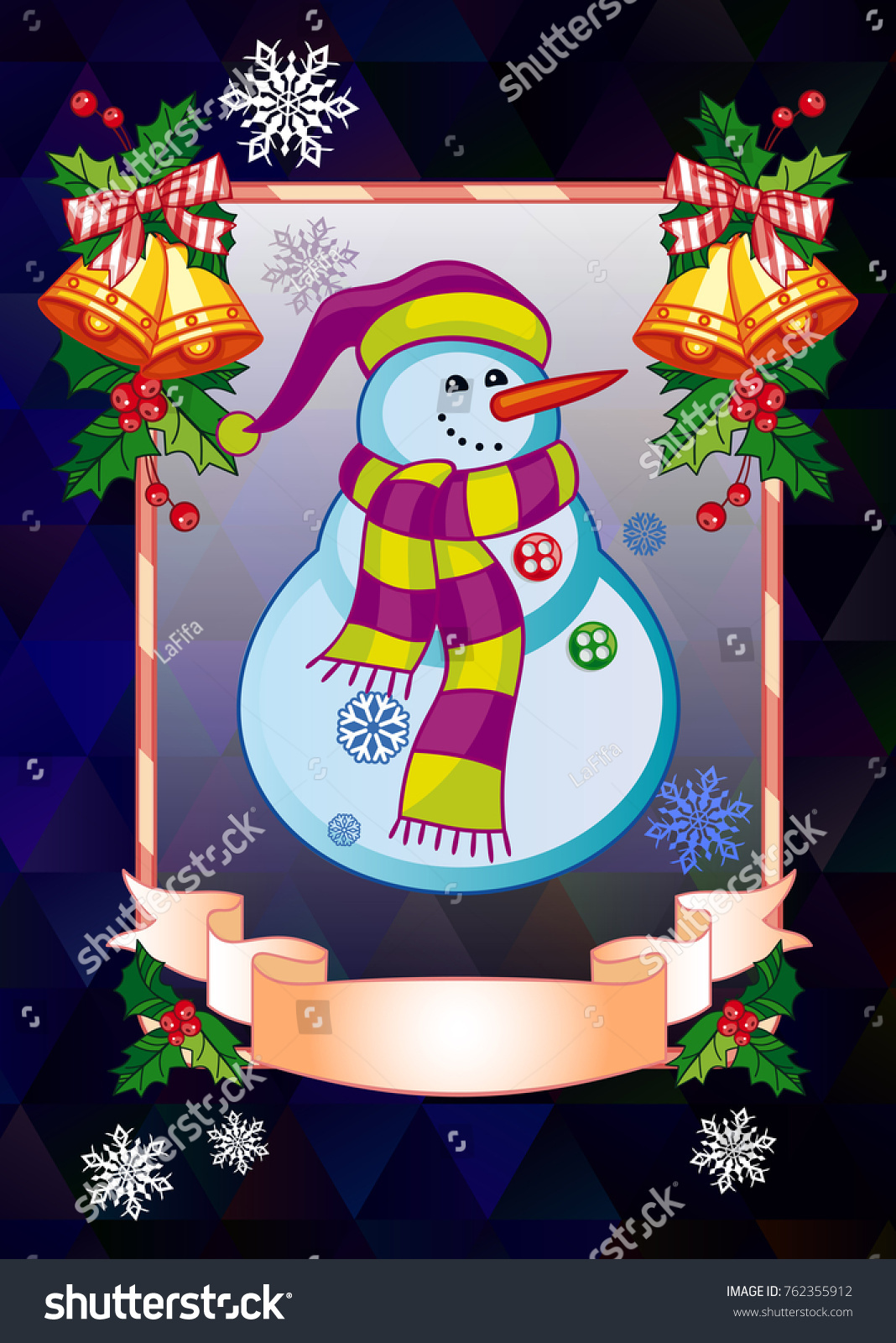 Holiday christmas card with funny snowman on a colorful mosaic ...