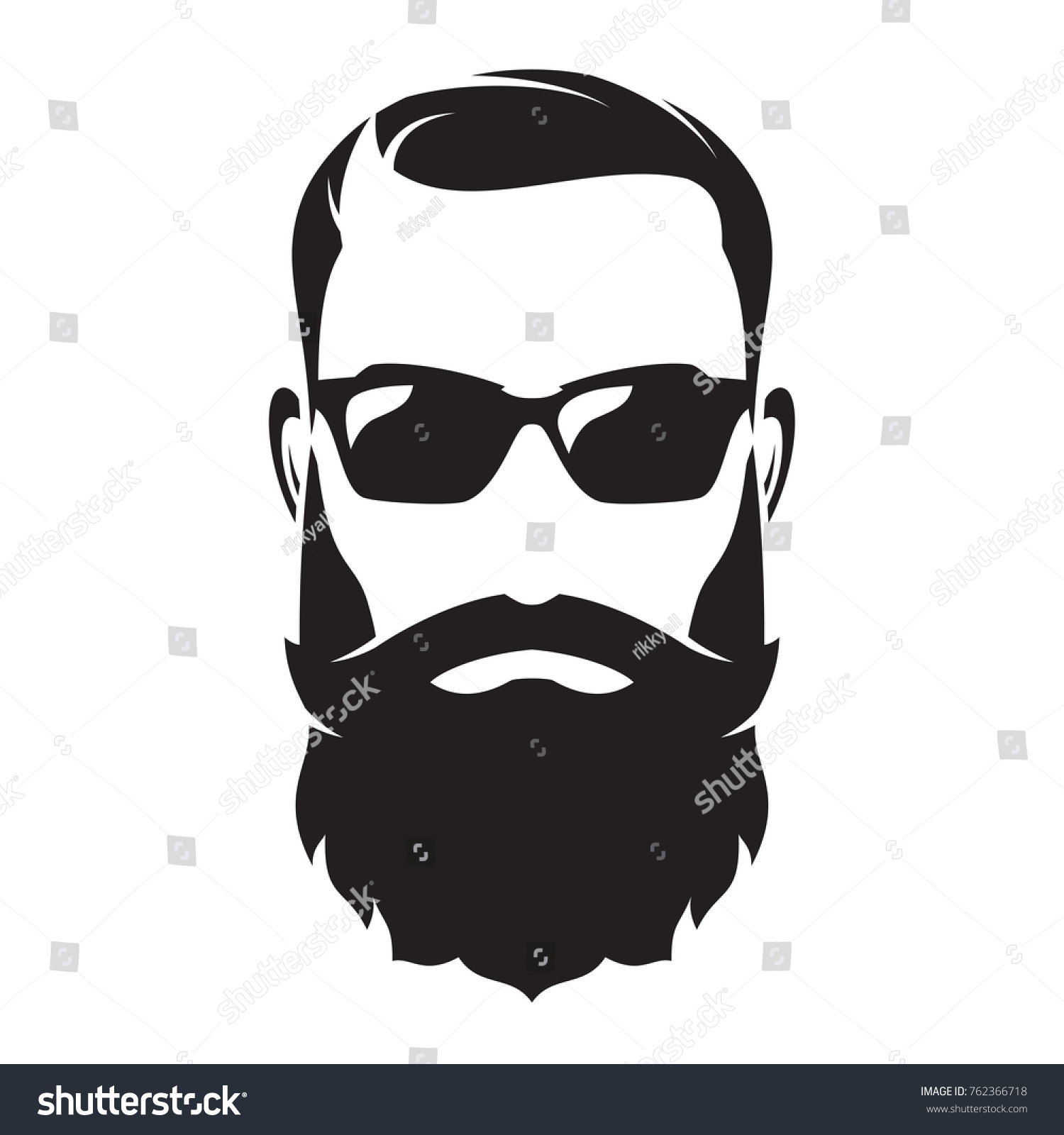 bearded mans face hipster character fashion stock vector