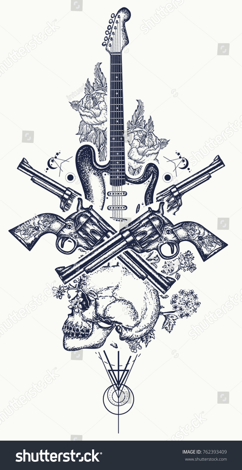 Human skull electric guitar revolver roses stock vector 762393409 human skull and electric guitar revolver roses and music notes tattoo and t biocorpaavc Image collections