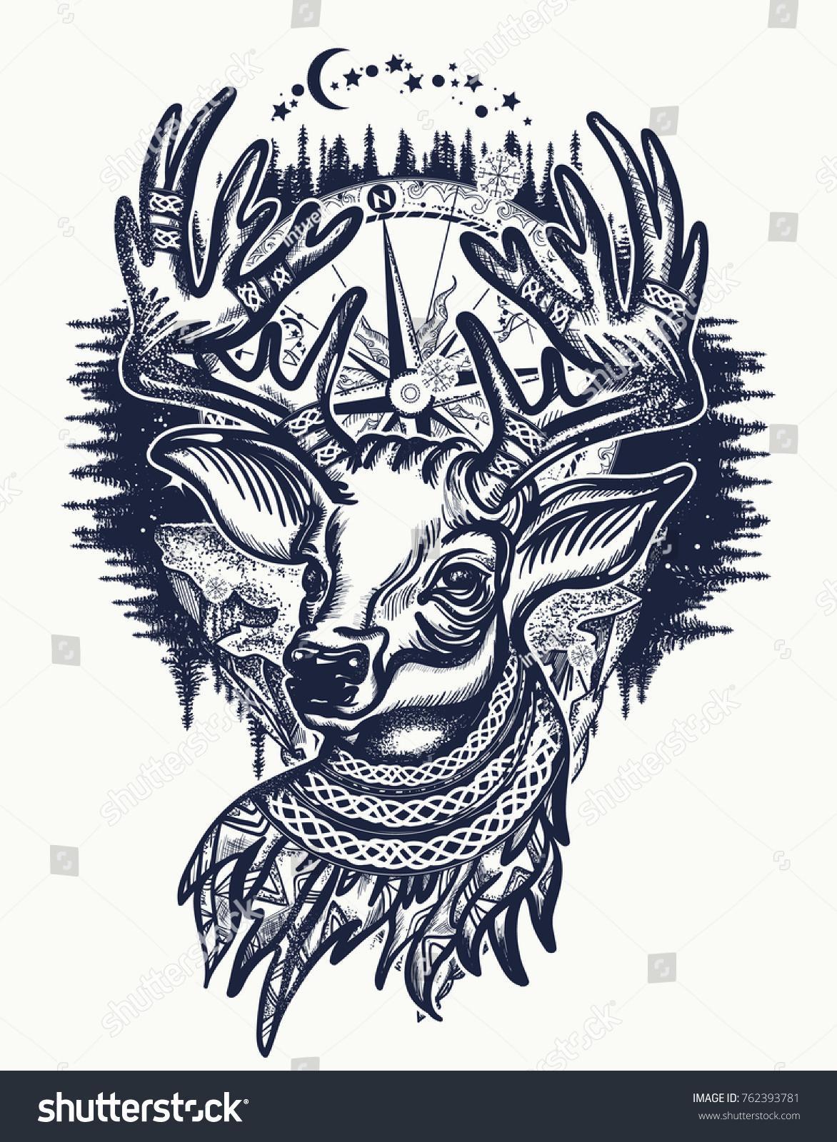 Deer Winter Forest Tattoo Tshirt Design Stock Vector Royalty Free