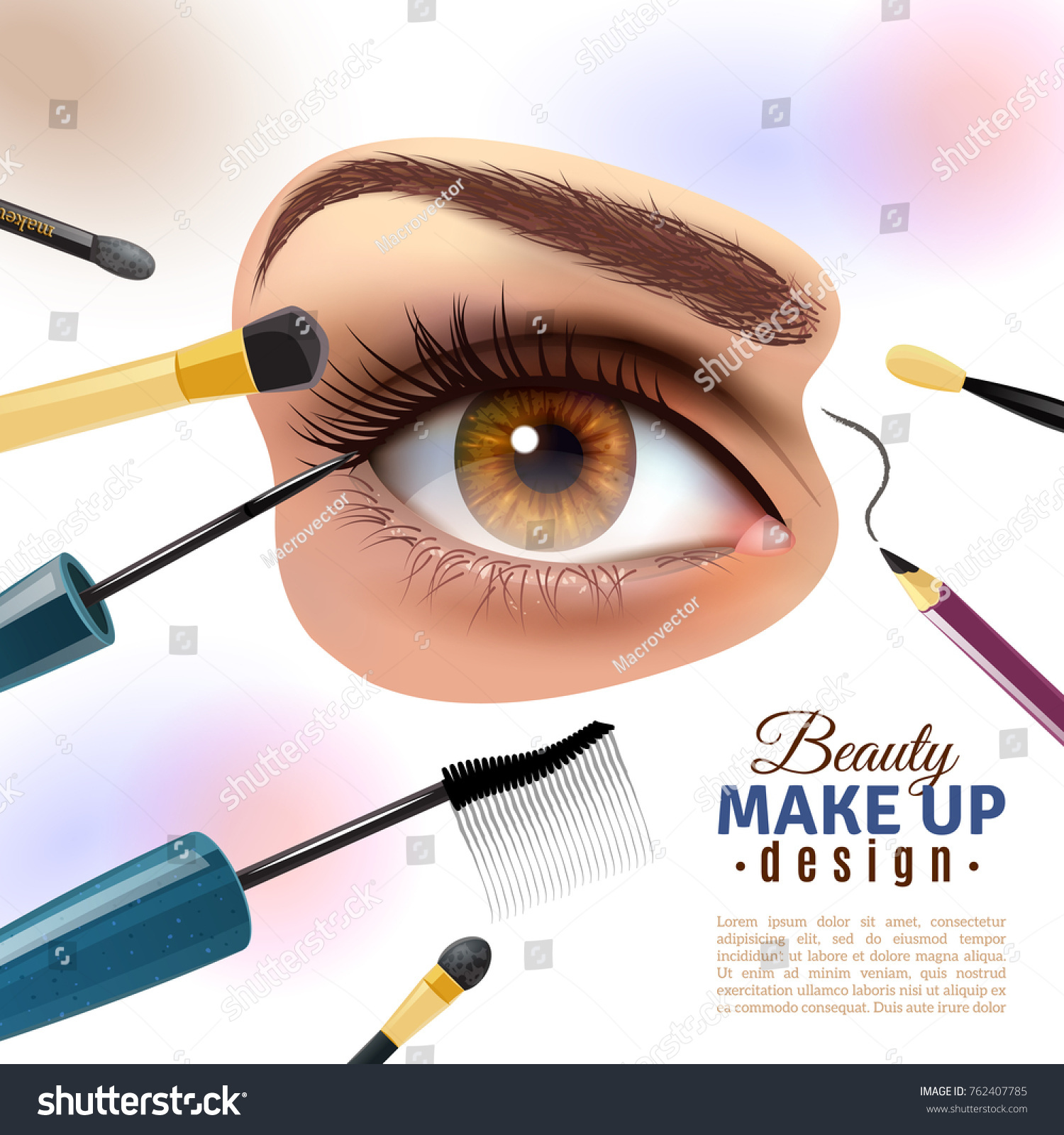 Applying Eye Makeup Beauty Tips Pictorial Stock Illustration
