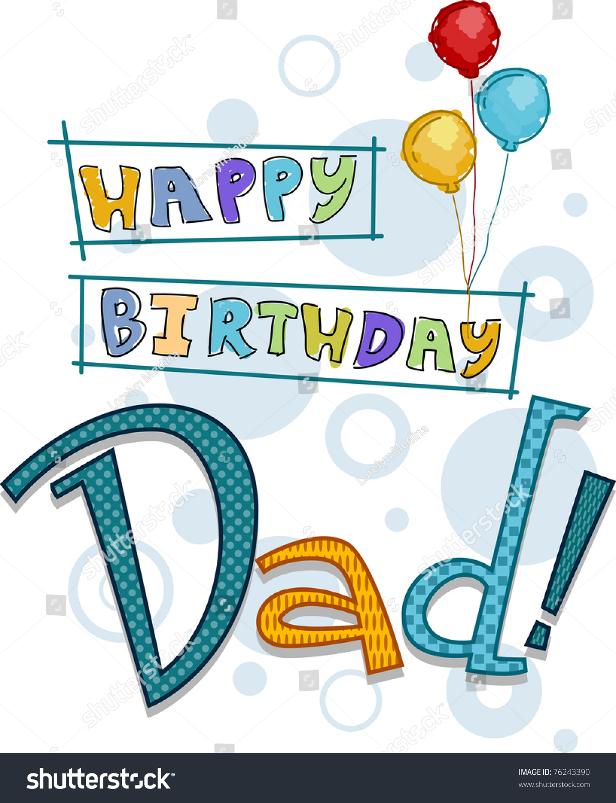 Text Featuring Birthday Greetings Dad Stock Vector Royalty Free