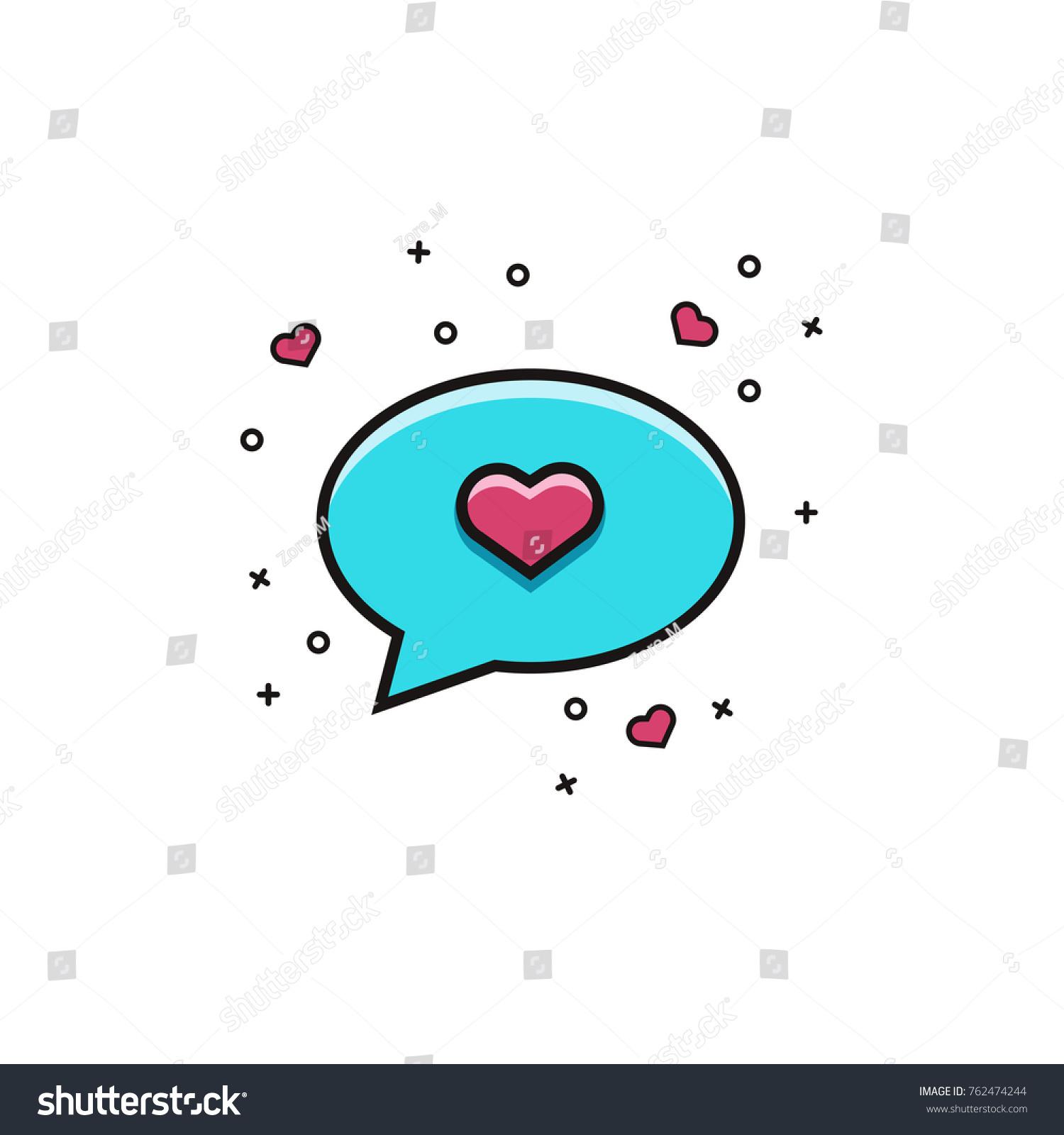 Speech Bubble Heart Flat Color Line Stock Vector 762474244