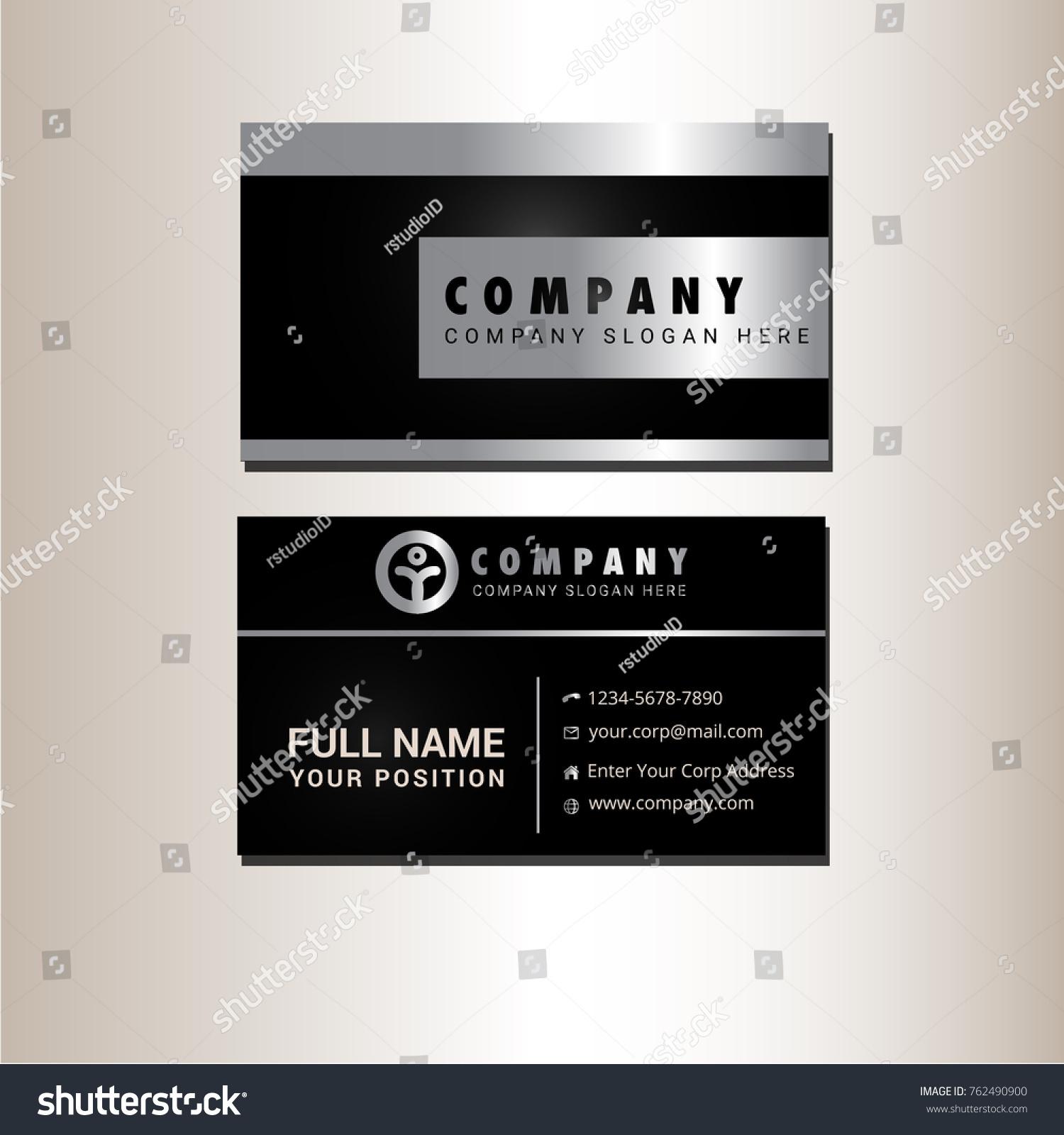 Black Silver Business Card Vector Stock Vector 762490900 - Shutterstock