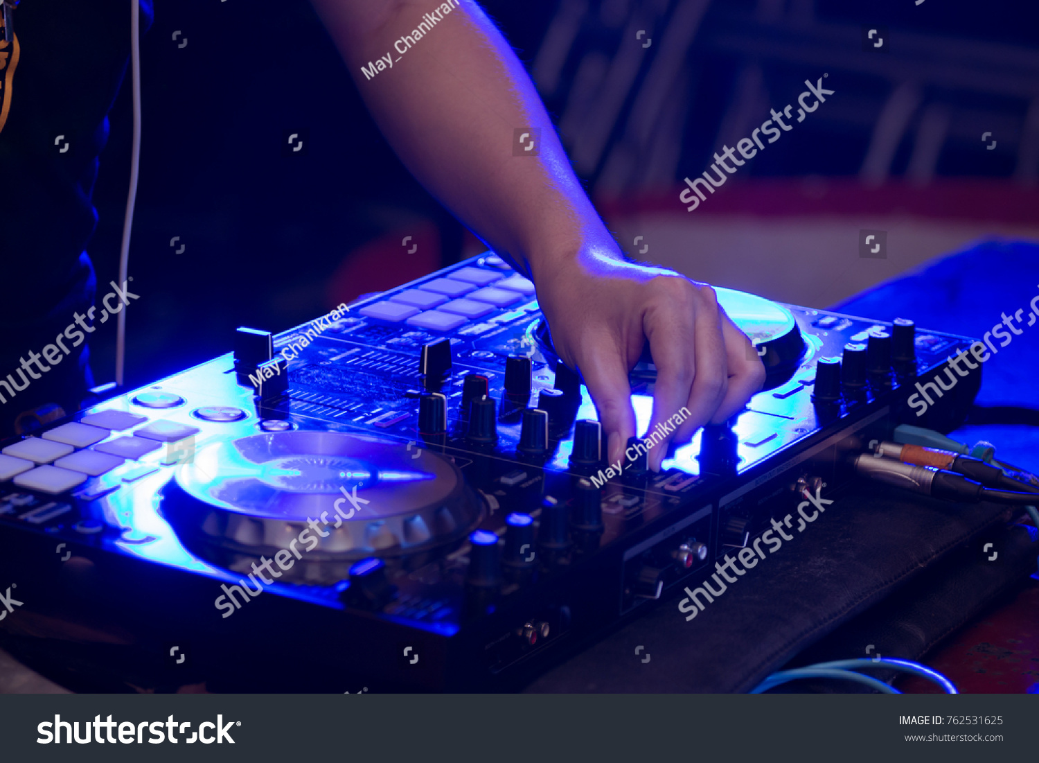 Close DJ Hands On Stage Mixing Stock Photo (Edit Now