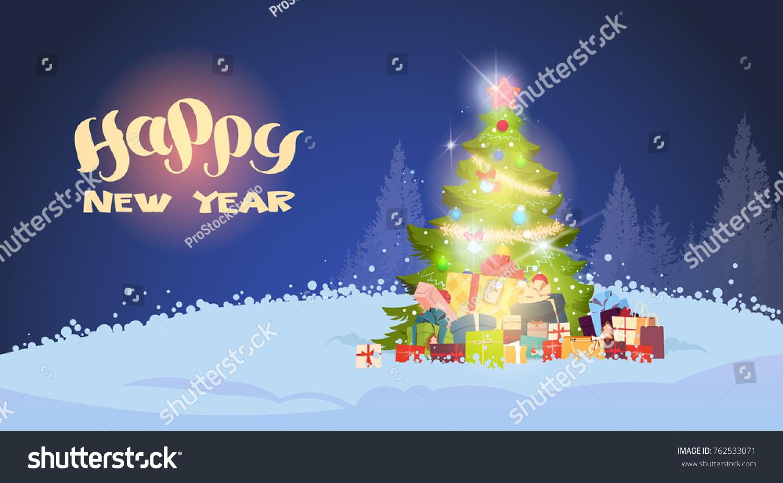 Winter Landscape Beautiful Christmas Tree Shining Stock Vector ...