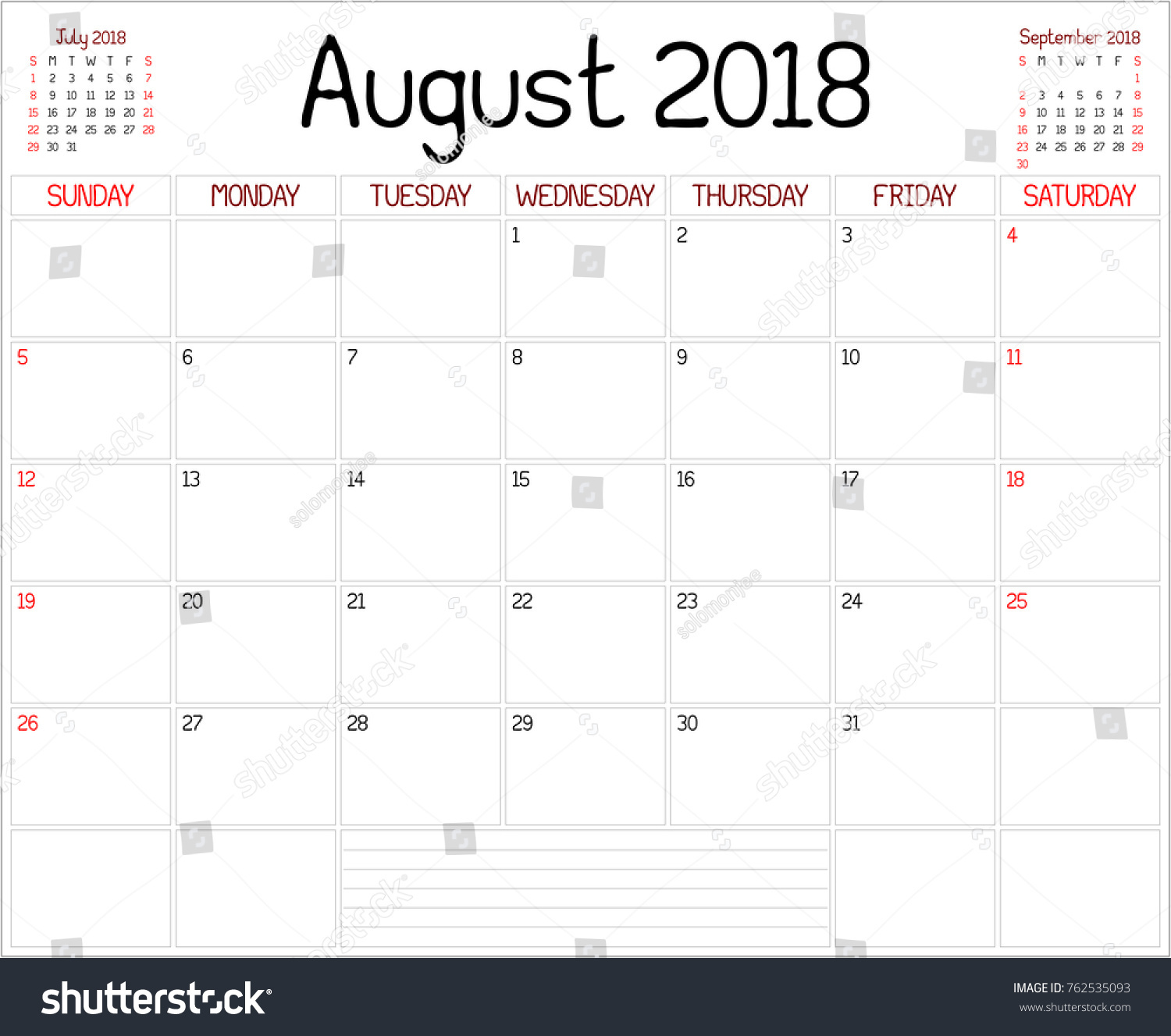 Year 2018 August Planner Monthly Planner Stock Illustration