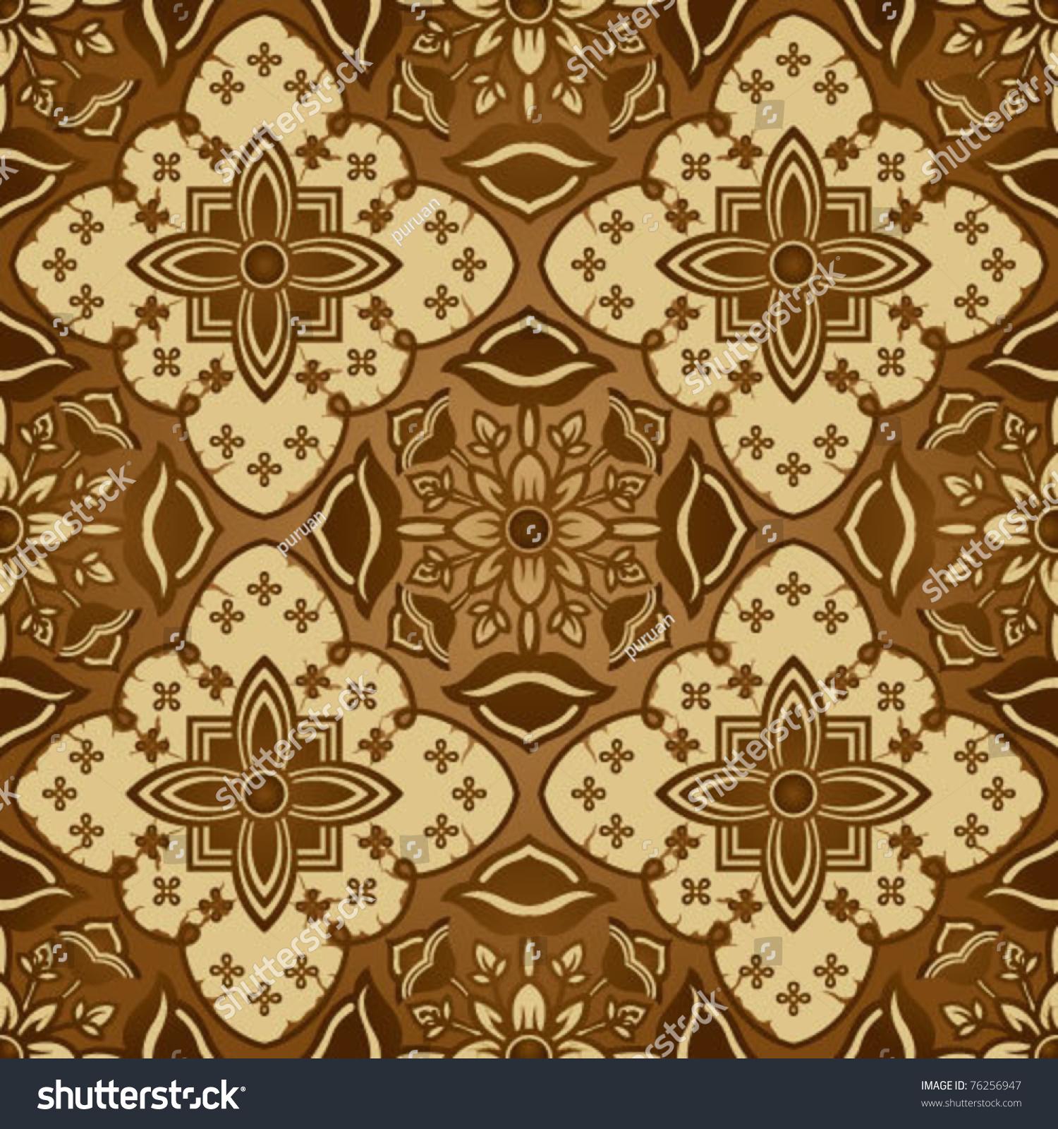 Seamless Brown Javanese Batik Background Stock Vector