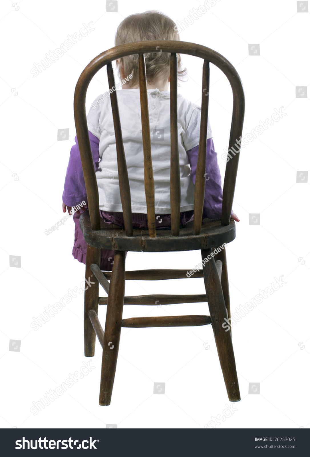 little girl sitting in a time out chair stock photo 76257025 shutterstock. Black Bedroom Furniture Sets. Home Design Ideas