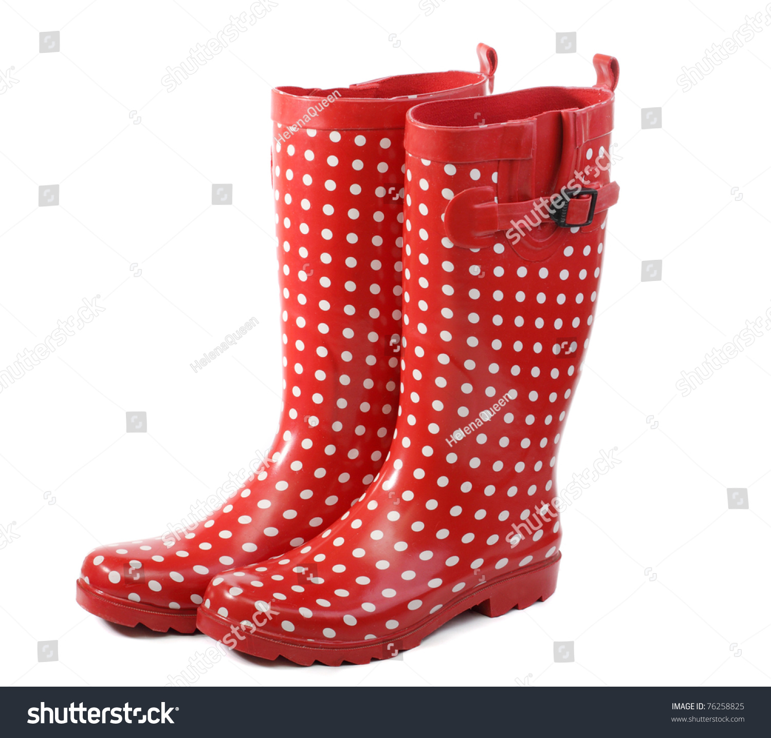 Polka Dot Red Rain Boots Stock Photo 76258825 - Shutterstock