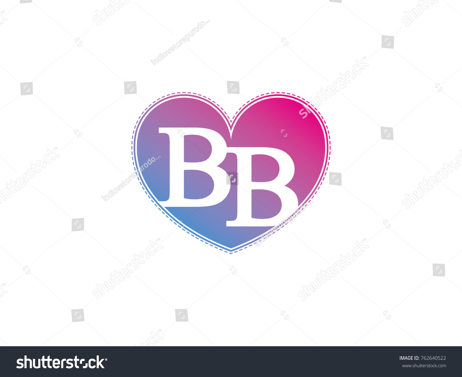Initial Letter Bb Heart Symbol Logo Stock Vector Royalty Free