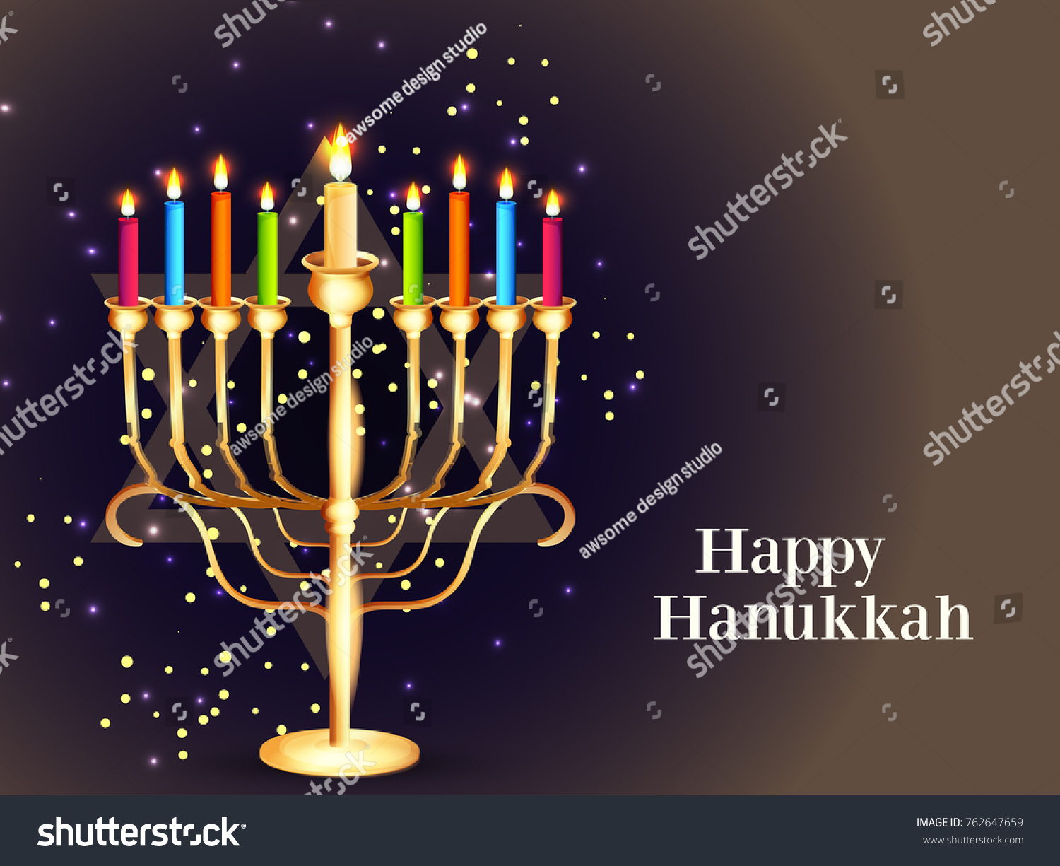 Happy Hanukkah Greeting Card Design Jewish Holiday Stock Vector