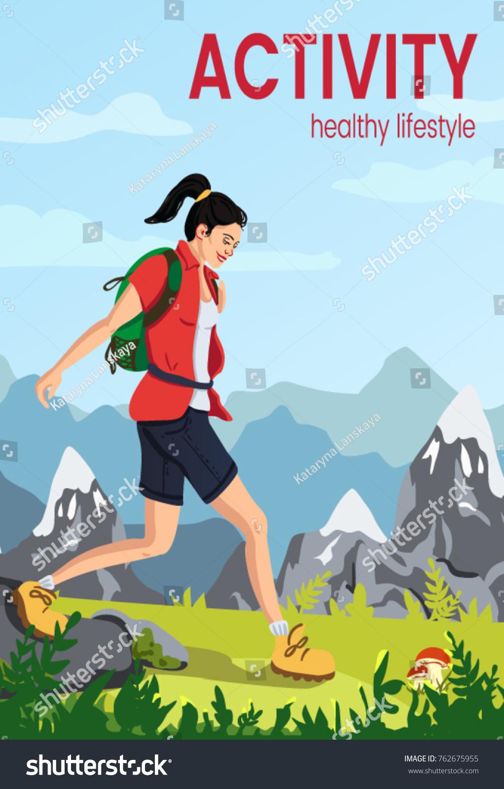 Vector Flat Illustration Sporty Woman Running Stock Vector Royalty Free 762675955