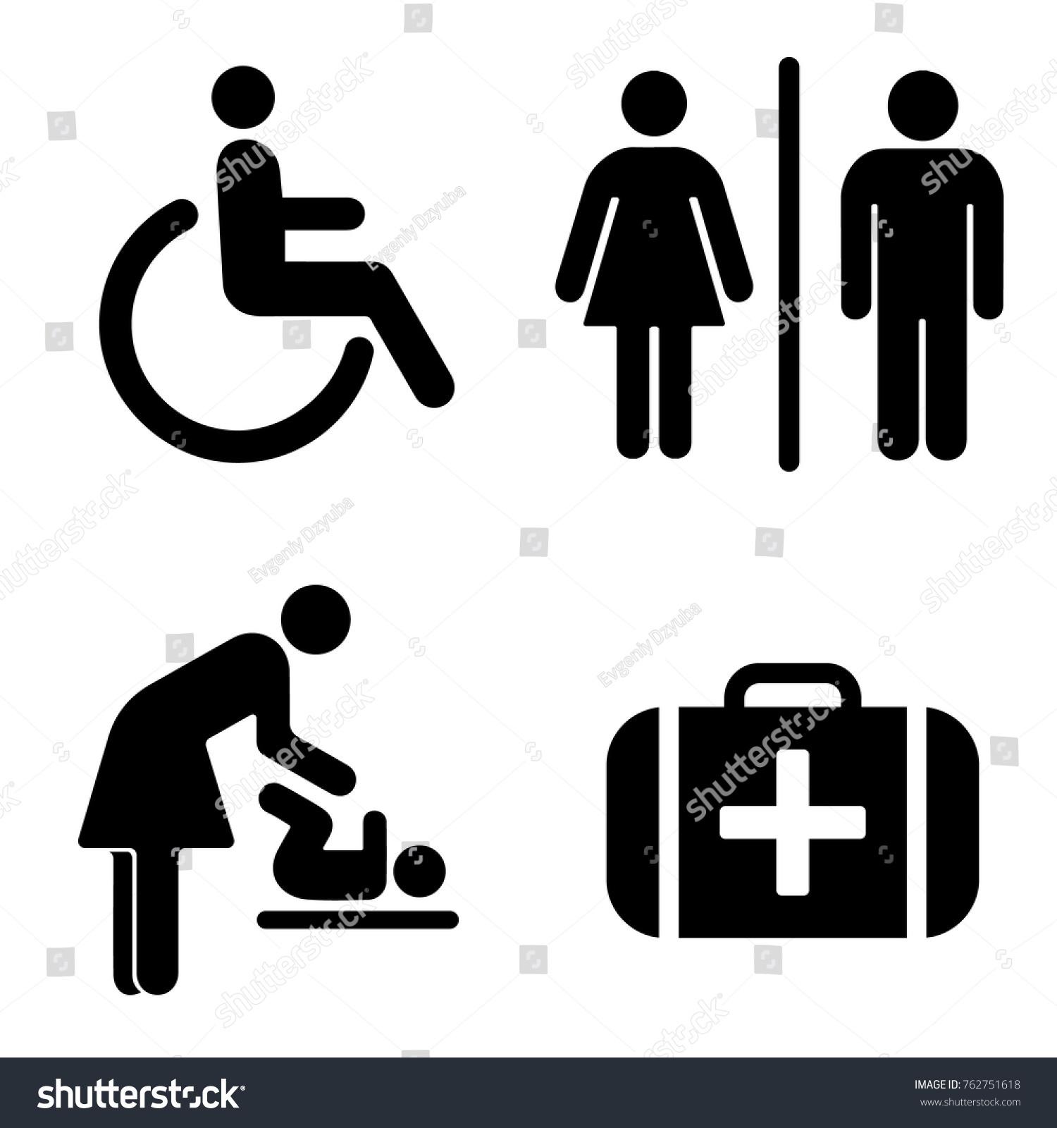 Set icons wc bathroom vector set stock vector 762751618 shutterstock set of icons for wc the bathroom vector set of symbols buycottarizona