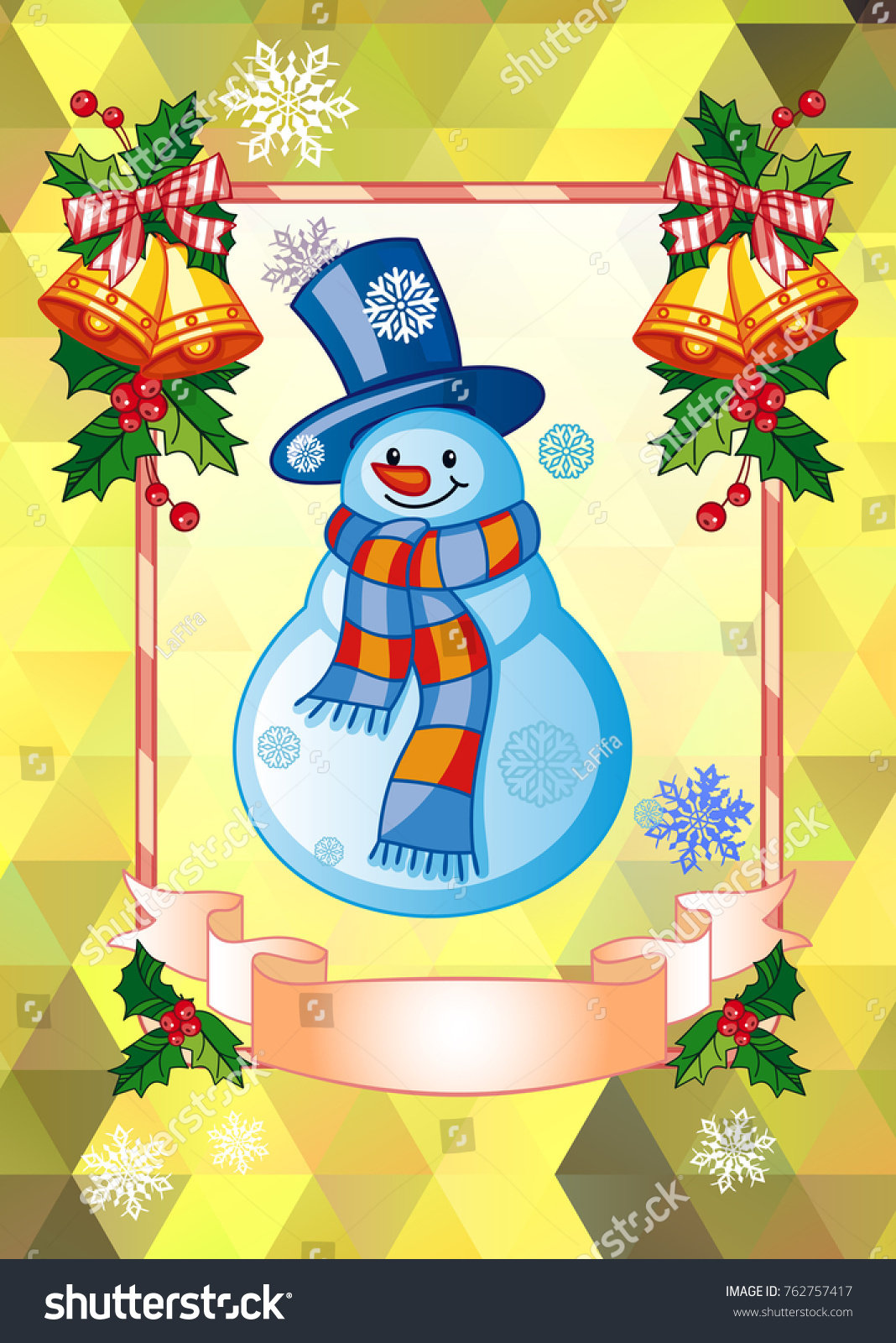Holiday Christmas Card With Funny Snowman On A Colorful Mosaic