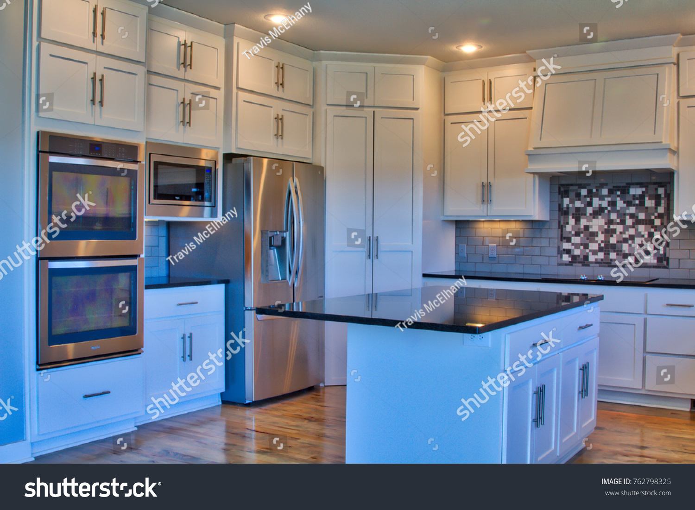 Modern Kitchen Stainless Steei Appliances Island Stock Photo Edit Now 762798325