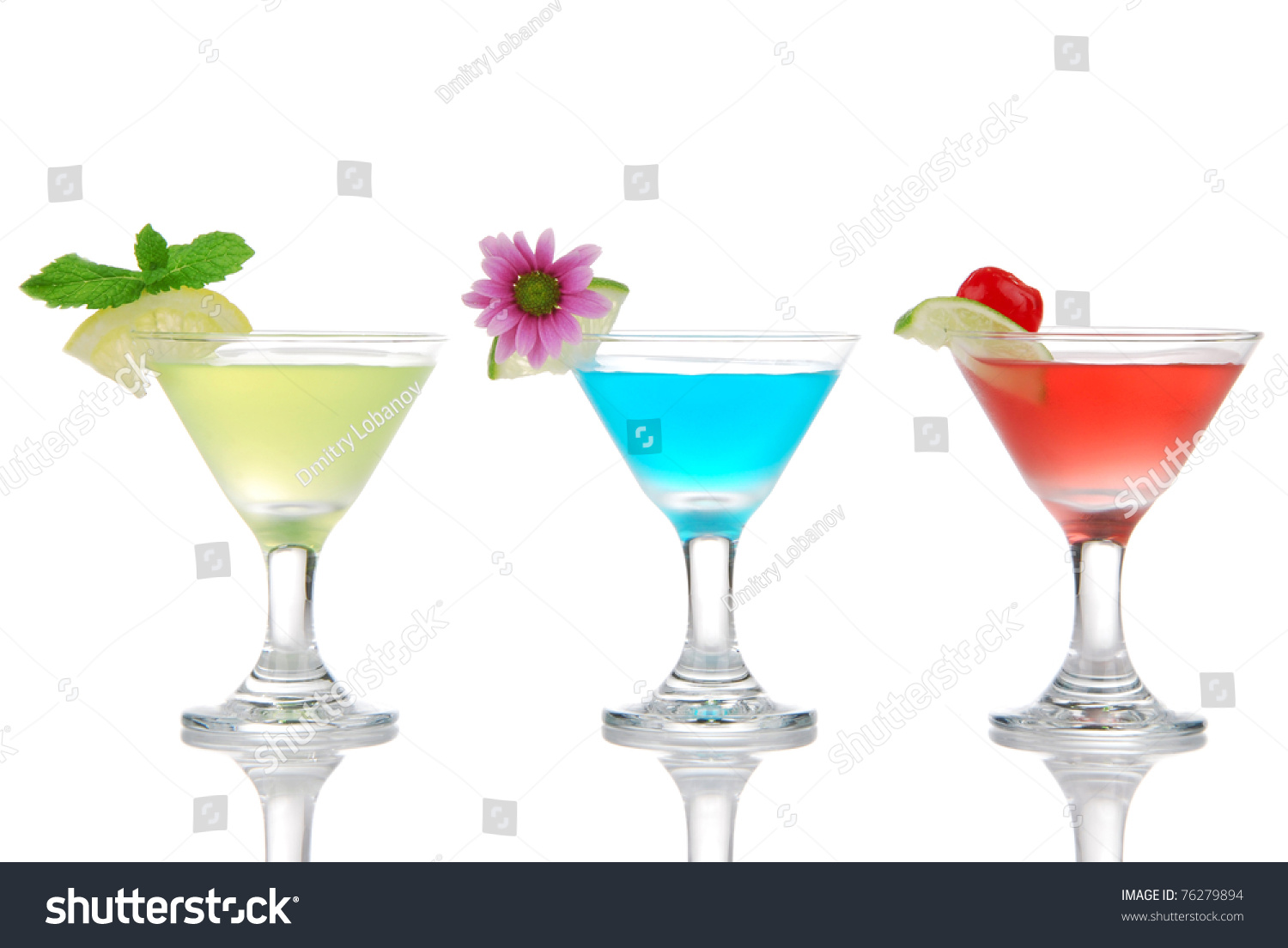 Tropical martini cocktails row with vodka light rum gin for Light cocktails with vodka
