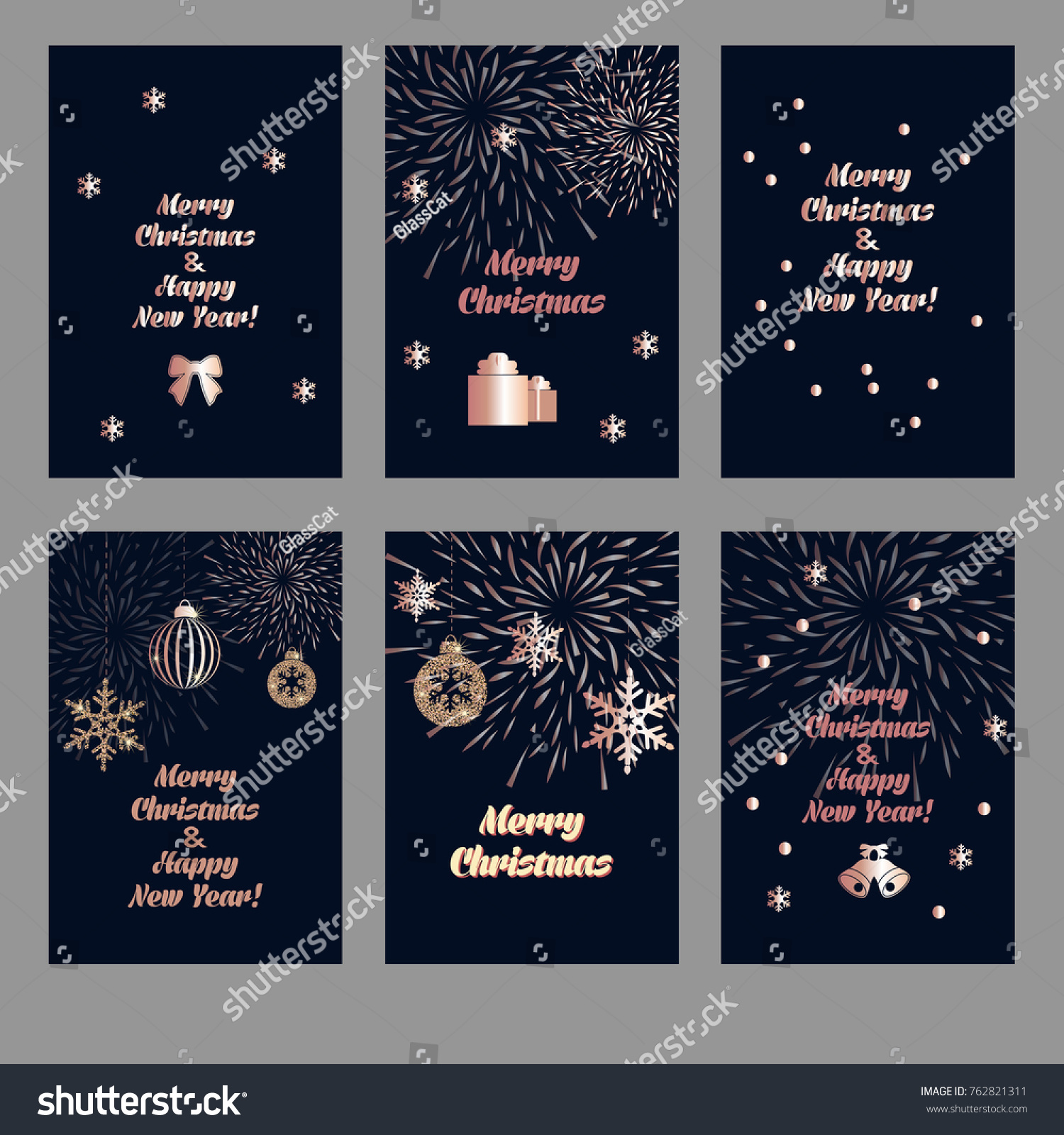 Set Christmas Background Golden Decoration Holiday Stock Vector