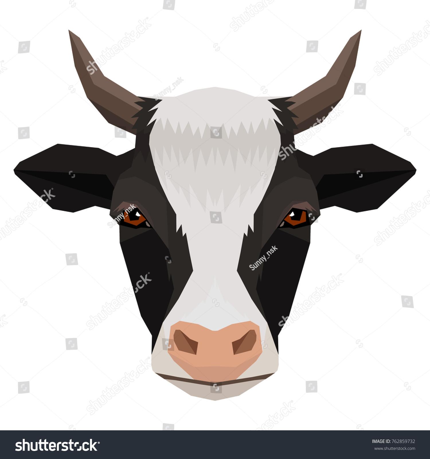 Vector Corner Style Cow Face Farm Stock Vector 762859732 - Shutterstock