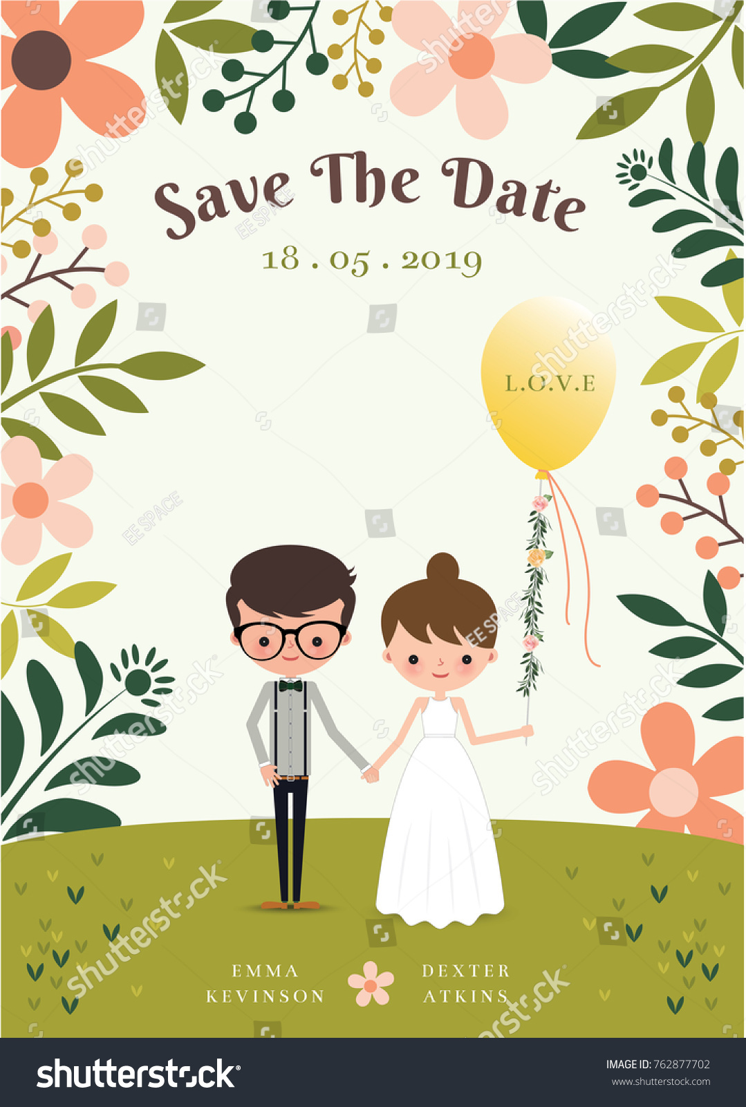 Cute Wedding Card Cartoon Bride Groom Stock Vector 762877702 ...