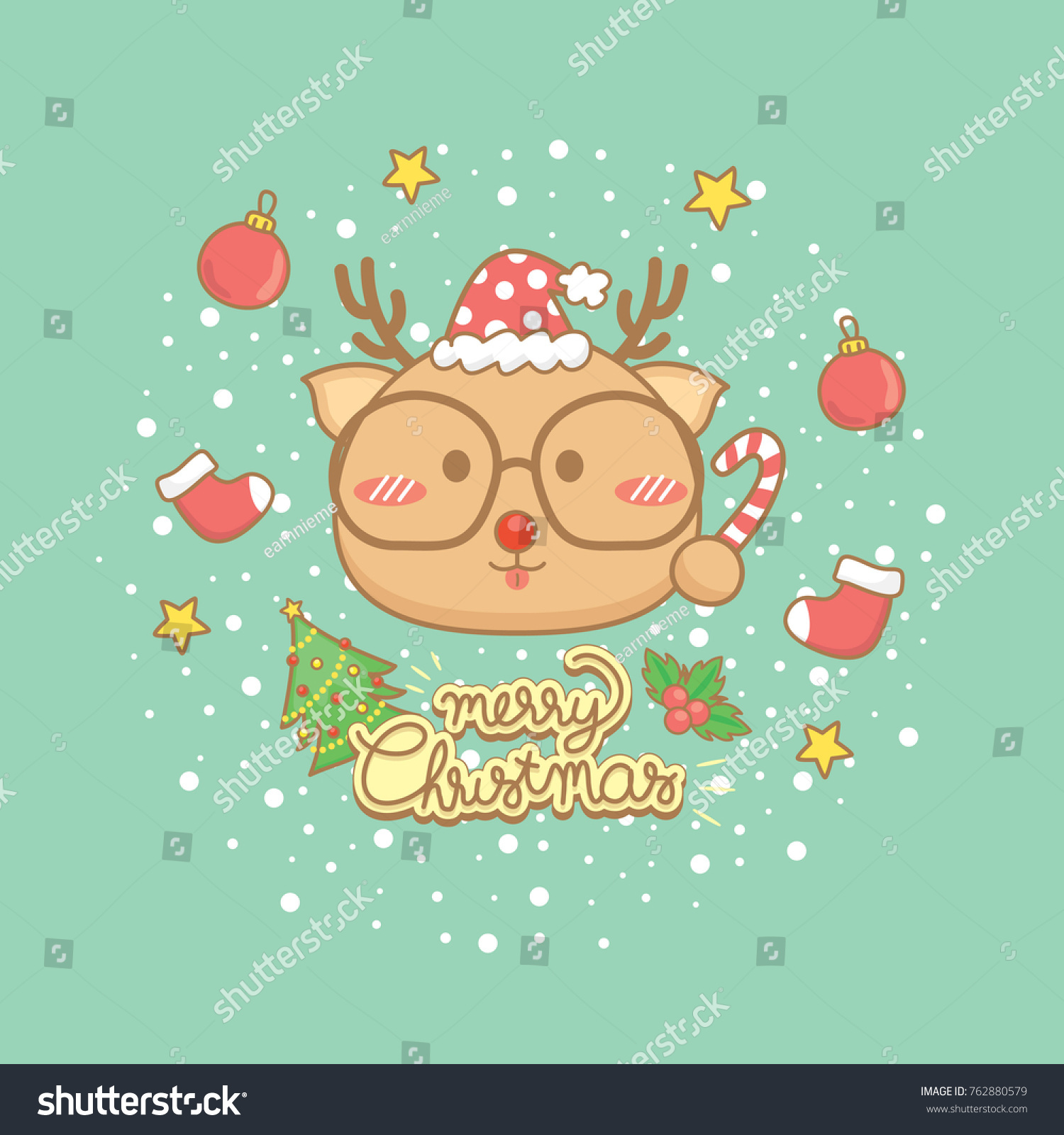 Merry christmas celebration greeting card setcute stock vector merry christmas celebration greeting card sette reindeer characters hold candy wear eye glasses kristyandbryce Gallery