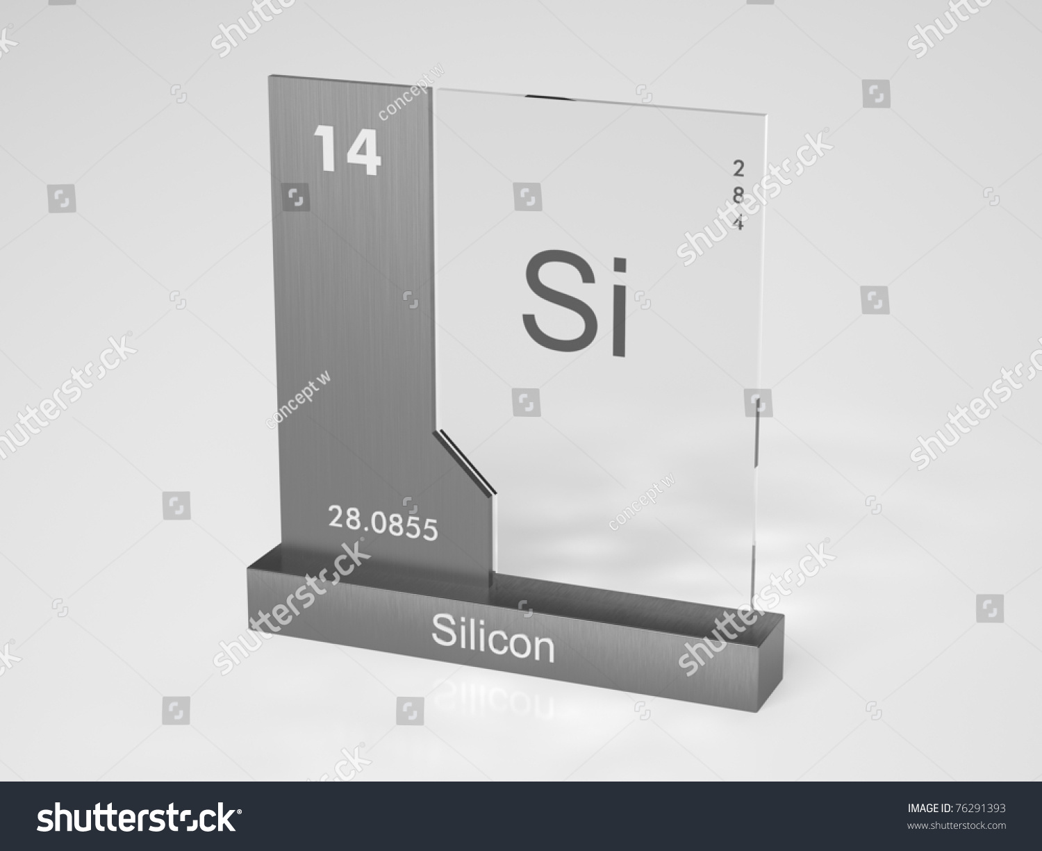 Silicon Symbol Si Chemical Element Periodic Stock Illustration