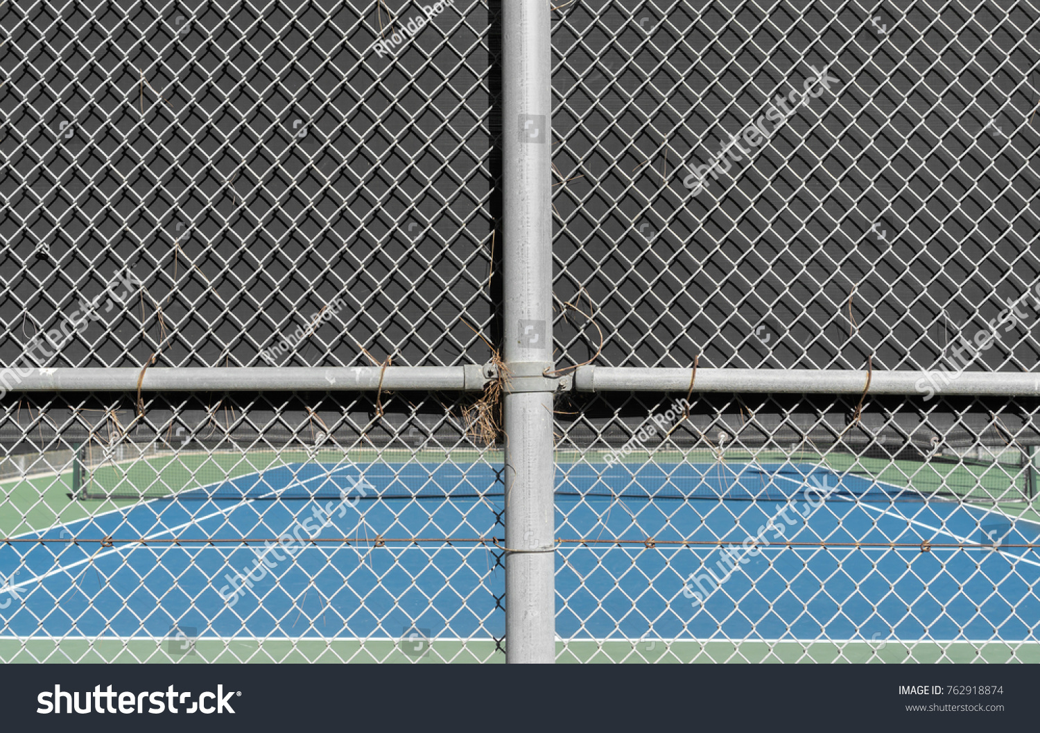 Outdoor Tennis Court Chain Link Fence Stock Photo (Edit Now ...