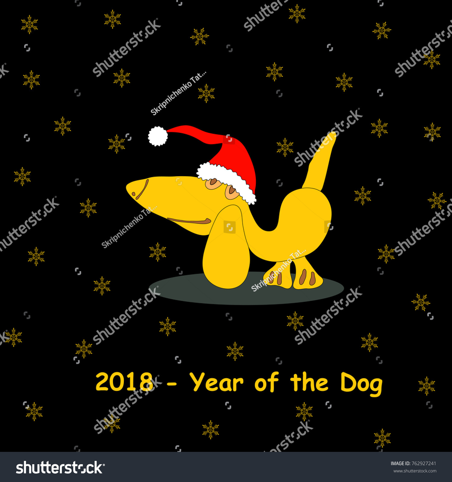Black background amusing yellow dog santa stock vector 762927241 black background with amusing yellow dog in santa hat snowflakes and text banner with biocorpaavc