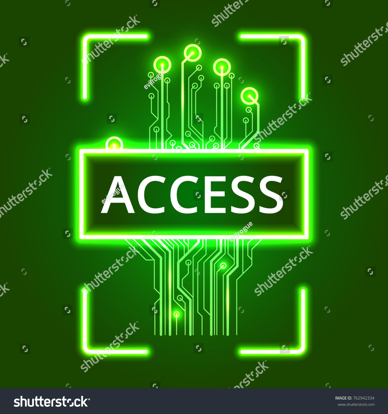 Hand Circuit Board Scanner Vector Illustration Stock Royalty Boards With Clock Hands Free Image On A Green Background
