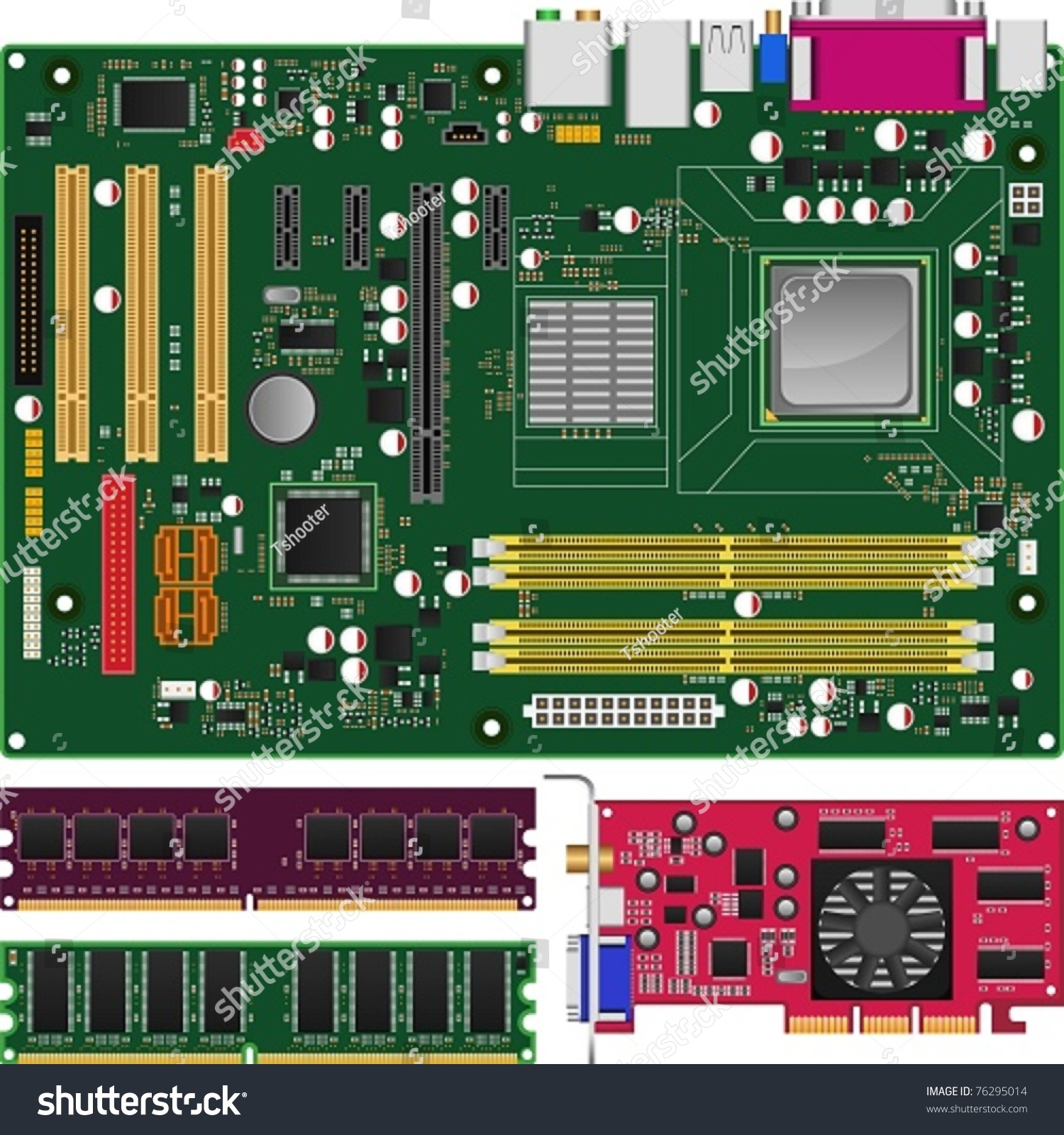 The Motherboard The Large Flat Circuitryandslotfilled Board