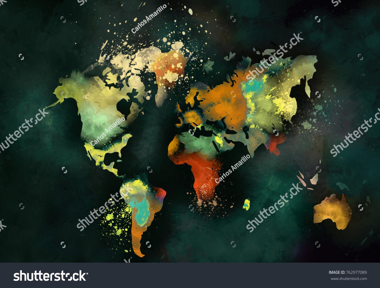 Artistic World Map Painting On Dark Stock Illustration - Artistic world map